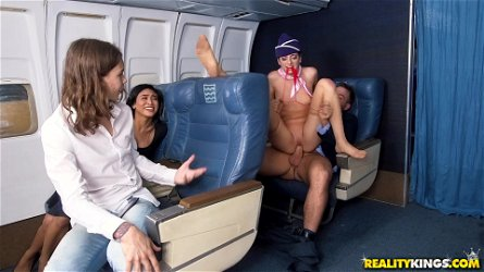 A lucky guy gets handjob from a flight attendant Nikki Knightly