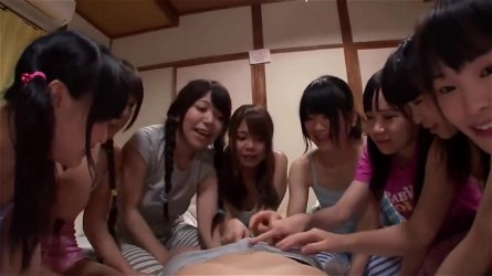 Reverse gangbang in Summer Camp