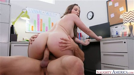 Big breasted stunning office hoe Lily Love rides dick on top greedily