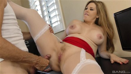 Buxom hungry MILF Allison Moore throats cock and gets fucked hardcore