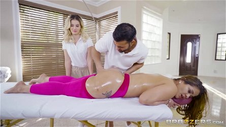Two hot chicks with big booties riding big cock after massage session