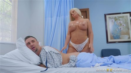 hot MILF nurse Julie Cash seduces her patient with big dick
