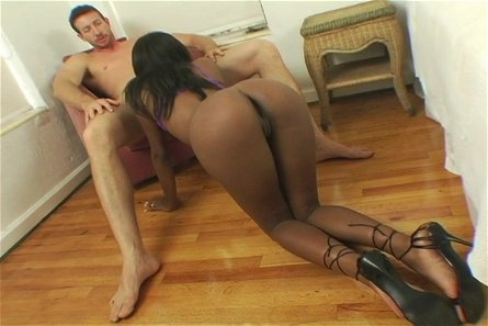 Black Bitch Worships White Cock.