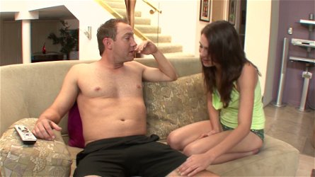 Horny coed Aubrey Lee is the one who initiates sex with her stepfather