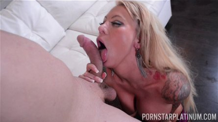 Watch as mature blonde pornstar Lolly Ink rides a large penis