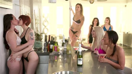 Group of lesbians enjoy watching Bree Daniels and Lena Paul making love on the table