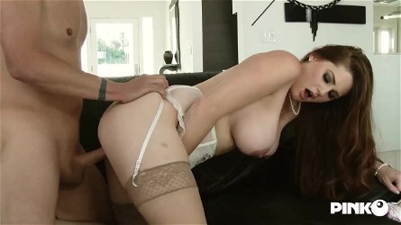 Crimson haired mature in a cool sundress, Allison Moore loves to touch her nub while getting humped