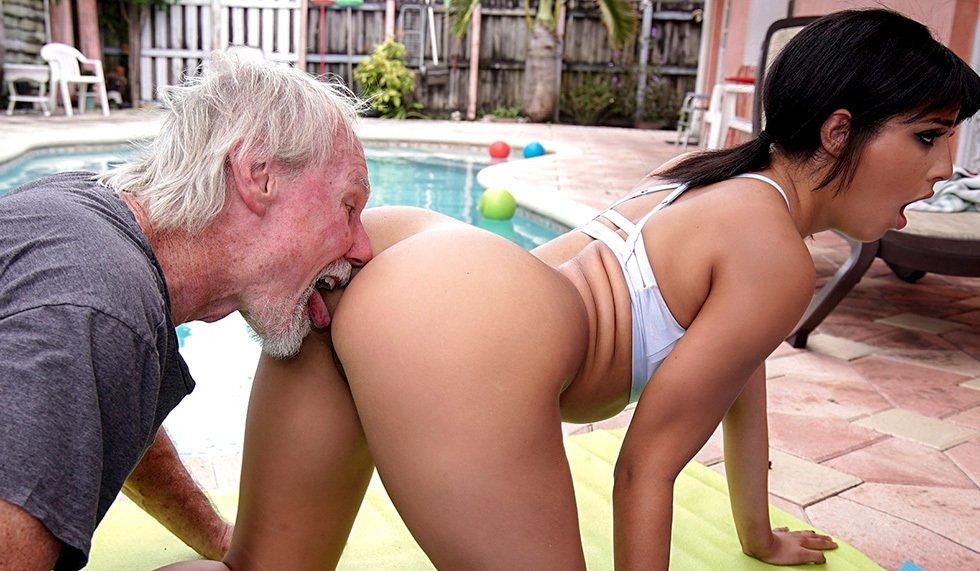 Beach sex with a hot latina and an old man