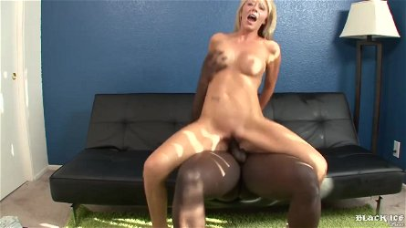 Charismatic light-haired, Ashley Winters got down and messy with a ebony stud, until she came