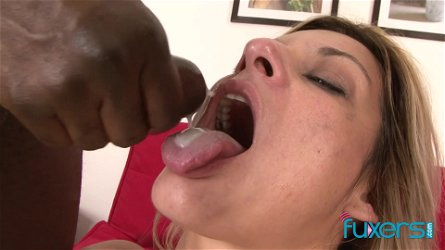 Klarisa Leone MFM trio with black and white cock and double cumshot