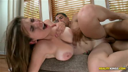 Strong stud makes a busty babe take doggy position for fuck