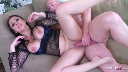 Big titted brunette, Sonya Sage is sucking dick and getting it in a doggy- style position