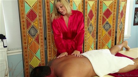 Handsome blonde chick Ashden Wells loves giving her hubby a massage