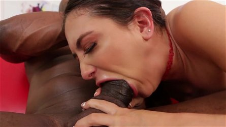 Jane Wilde gagging on monster interracial sex
