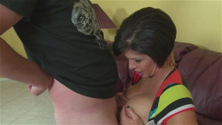 Stacked mature dame Shay Fox titty fucks and gives one hell of a handjob