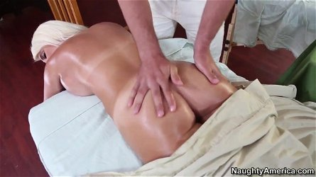 Jacky Joy gets horny and sucks a masseur's big dick