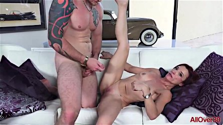 Skinny milf, Stella Banks is cheating on her husband with a younger, tattooed guy she likes