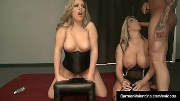 Carmen Valentina &amp_ Milf Amber Lynn Bach Take Turns On Sybian