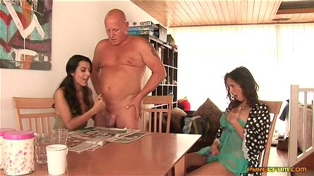 Dick sucking in the morning by slutty Ella James and Lou Charmelle
