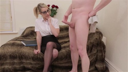 Nerdy blonde blowjob